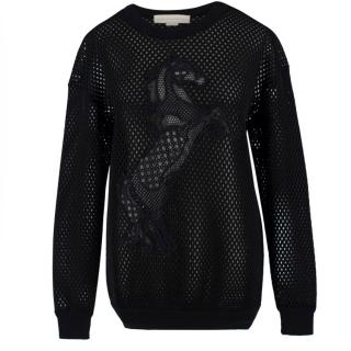 Stella McCartney Embroidered Neoprene Mesh Sweater