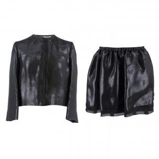 Miu Miu Black Lurex Taffeta Silk Skirt Suit