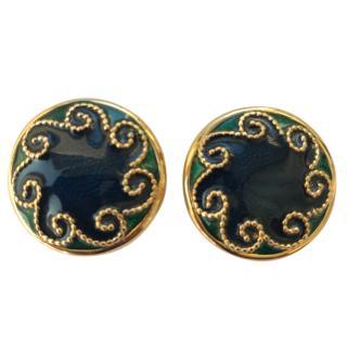 Nina Ricci Vintage Gold & Enamel Earrings