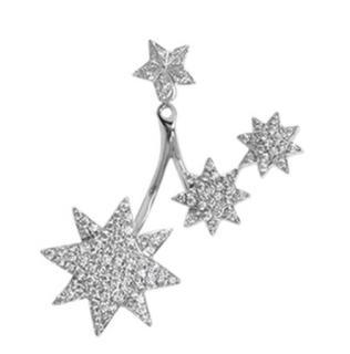 Djula 0.82ct diamond three sun dangle gold single earring