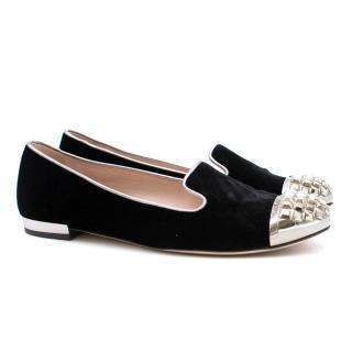 Miu Miu Velvet Embellished Loafers