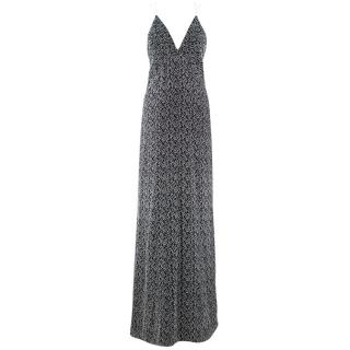 Galvan Black & White Textured Low Back Gown