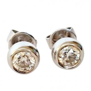 Bespoke 18ct Gold 0.50ct Diamond Solitaire Dome Earrings