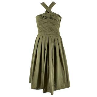 Burberry Silk Cross-Over Midi Dress