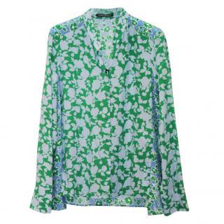 Luisa Cerano Floral Green Silk Blouse