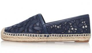 Tory Burch lace & leather espadrilles