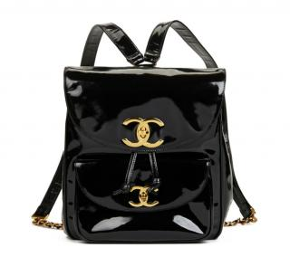 Chanel Vintage Black Patent Leather Classic Timeless Backpack