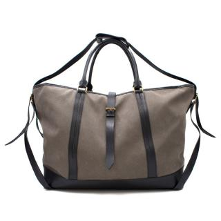 Burberry Grey Canvas & Leather Hold-all Bag