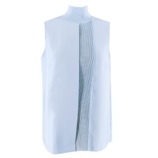 Vince Blue Sleeveless Turtleneck Top