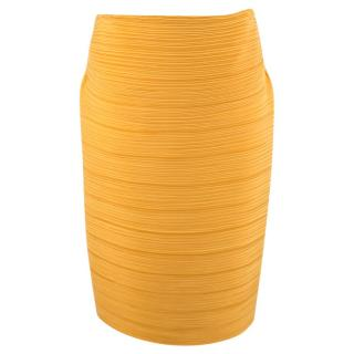 Lavin Gold Silk Pleated Skirt