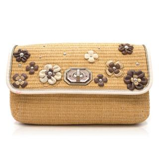 Coach Wicker Floral Clutch