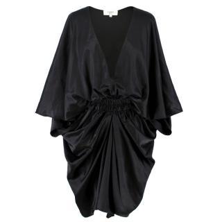 Lavin Silk Black Dtraped Dress