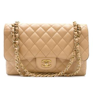 Chanel Beige Quilted Lambskin Small Classic Double Flap Bag