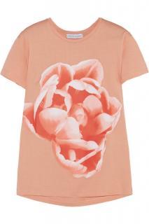Jonathan Saunders Orange Flower-Print Cotton-Jersey T-Shirt