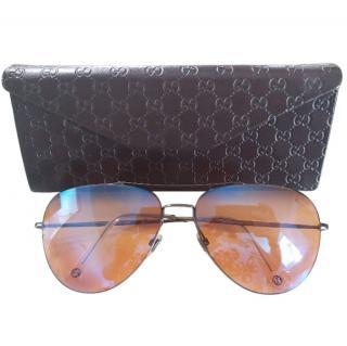 Gucci iridescent orange sunglasses worn twice high UV protection