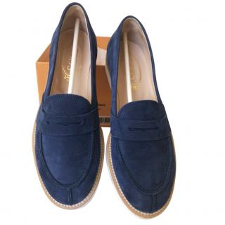Tod�s blue suede loafers