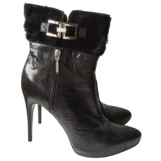 Cesare Paciotti snake skin and fur stiletto boots