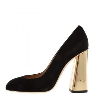 Dsquared2 Suede Gold Block Heeled Pumps