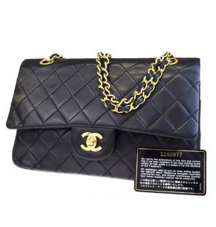 Chanel Black Lambskin 2.55 Vintage Classic Flap Bag