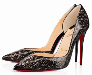 Christian Louboutin Black & Gold Galupump Patent Pumps