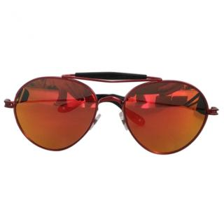 Givenchy red mirror aviator sunglasses