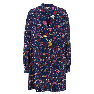 Kenzo Floral Patterned Silk Dress Shirt