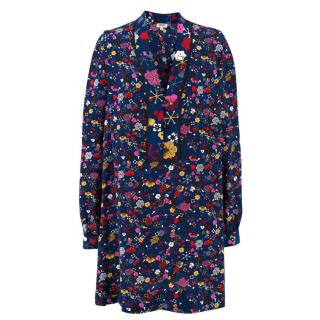 Kenzo Floral Patterned Silk Dress Shirt