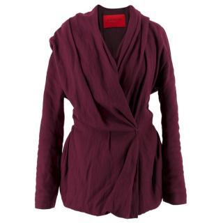 Lanvin Wool-Blend Draped Purple Jacket