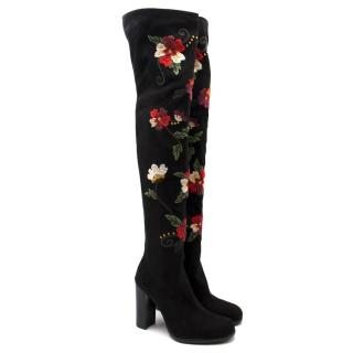 Sam Edelman Floral Embroidered Thigh High Boots