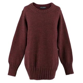 Dolce & Gabbana Cherry Red Knit Sweater