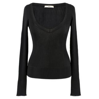 Prada Black Ribbed V Neck Top