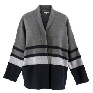 Chinti and Parker Grey Striped Lambswool Cardigan