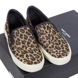 Saint Laurent Canvas Leopard Print Shoes