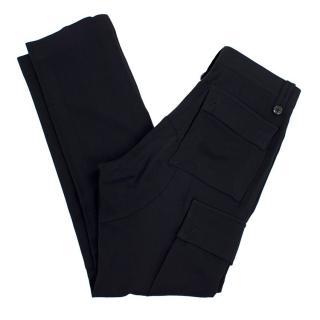Dries Van Noten Navy Wool Blend Trousers
