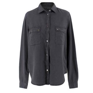7 For All Man Kind Charcoal Button-up Blouse