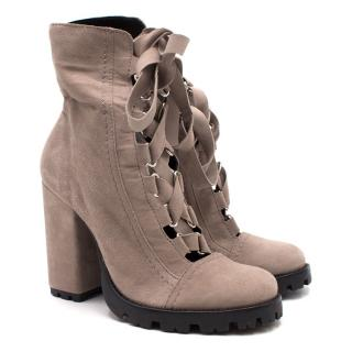 Schutz Lace Up Grey Boots