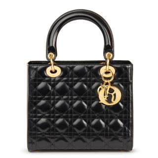 Christian Dior Black Glazed Calfskin Medium Lady Dior Bag