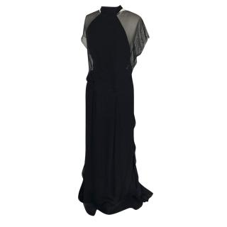 Christian Lacroix couture black silk chiffon dress