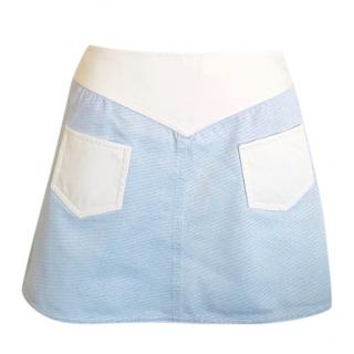 Courreges Blue and White Mini Skirt