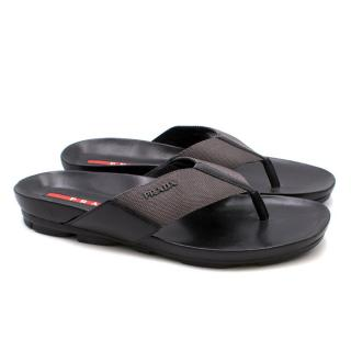 Prada Black Canvas Sandals