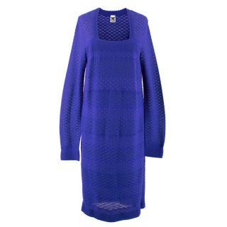 M Missoni Blue Sheer Knit Dress