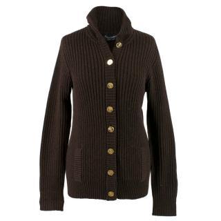 Dolce & Gabbana Brown Wool Ribbed Cardigan