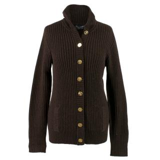 Dolce & Gabbana Brown Wool Ribbed Cardigan