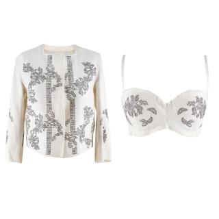 Ermanno Scervino Embellished Jacket and Bra Set