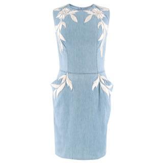 Ermanno Scervino Sleeveless Embroidered Denim Dress