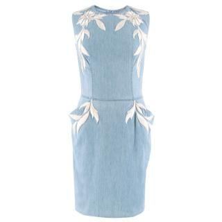 Ermanno Scervino Sleeveless Embroidered Denim Dress