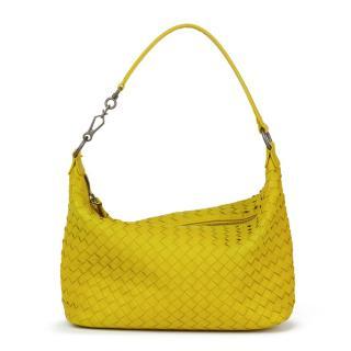 Bottega Veneta Ancient Gold Woven Calfskin Leather Small Shoulder Bag