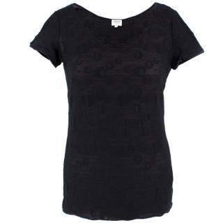 Armani Black Sheer Printed Top