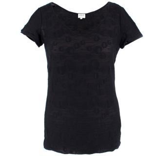 Armani Black Sheer Printed Top