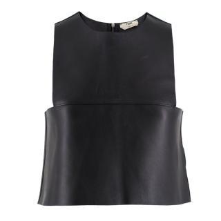 Fendi Black Leather Sleeveless Crop Top
